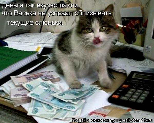 Котоматрица: деньги так вкусно пахли, что Васька не успевал облизывать   текущие слюньки.