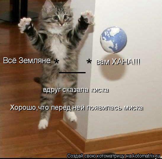 Котоматрица: Всё Земляне вам ХАНА!!! вдруг сказала киска Хорошо,что перед ней появилась миска *___*