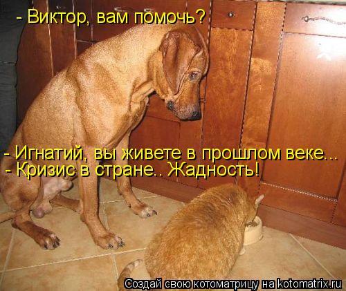 Котоматрица: - Виктор, вам помочь? - Игнатий, вы живете в прошлом веке... - Кризис в стране.. Жадность!