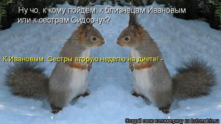 Котоматрица: Ну чо, к кому пойдем: к близнецам Ивановым или к сестрам Сидорчук? К Ивановым. Сестры вторую неделю на диете! -