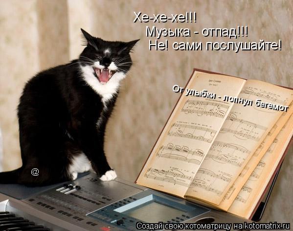 Котоматрица: Хе-хе-хе!!! Музыка - отпад!!! Не! сами послушайте! От улыбки - лопнул бегемот