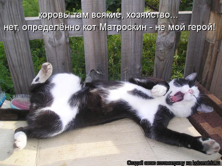 Котоматрица: коровы там всякие, хозяйство... нет, определённо кот Матроскин - не мой герой!