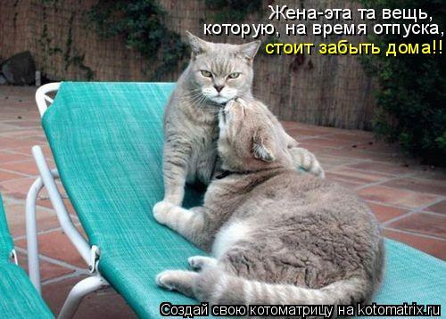 Котоматрица: Жена-эта та вещь, которую, на время отпуска, стоит забыть дома!!