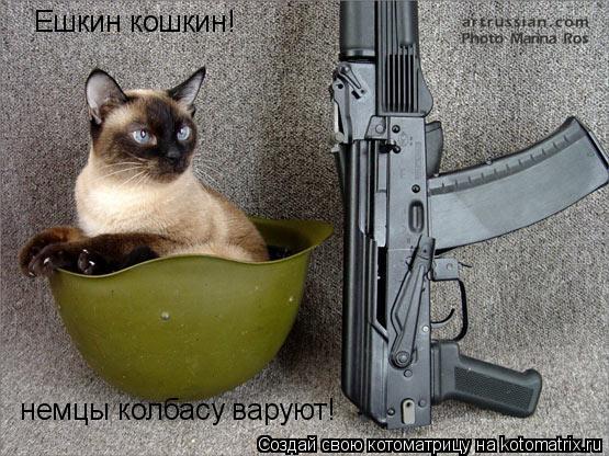 Котоматрица: Ешкин кошкин!  немцы колбасу варуют!