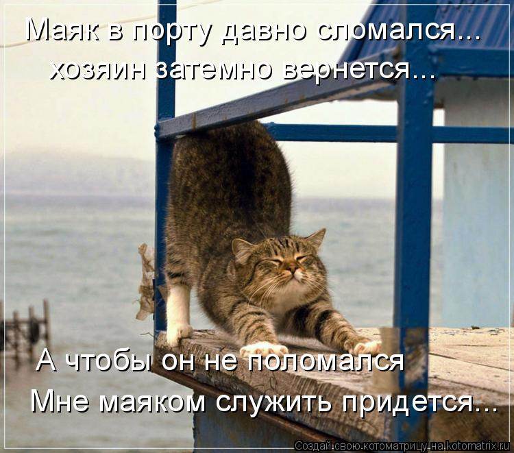 Котоматрица: хозяин затемно вернется... А чтобы он не поломался Мне маяком служить придется... Маяк в порту давно сломался...