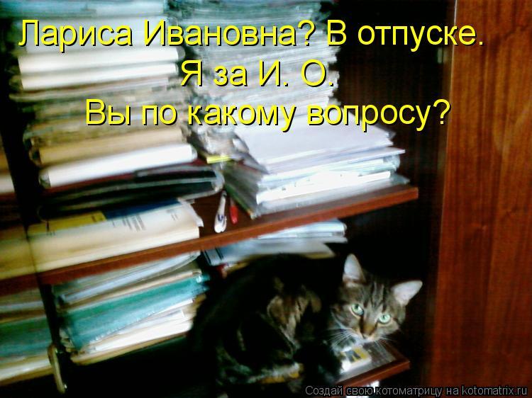 Котоматрица: Лариса Ивановна? В отпуске. Я за И. О. Вы по какому вопросу?