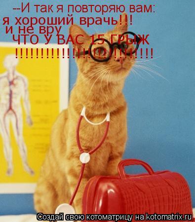 Котоматрица: --И так я повторяю вам: я хороший врачь!!! и не вру ЧТО У ВАС 15 ГРЫЖ !!!!!!!!!!!!!!!!!!!!!!!!!!!