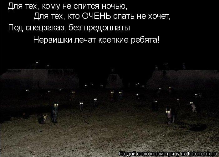 Котоматрица: Для тех, кому не спится ночью, Для тех, кто ОЧЕНЬ спать не хочет, Под спецзаказ, без предоплаты Нервишки лечат крепкие ребята!