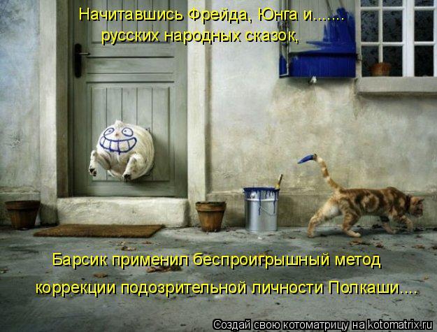 Котоматрица: Начитавшись Фрейда, Юнга и....... русских народных сказок, Барсик применил беспроигрышный метод коррекции подозрительной личности Полкаши....