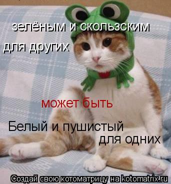 Котоматрица: Белый и пушистый  для одних может быть зелёным и скользским для других