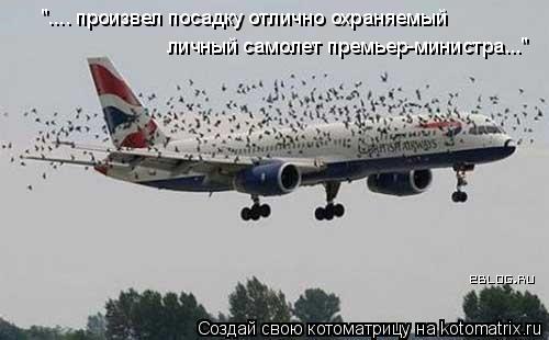 """Котоматрица: """".... произвел посадку отлично охраняемый  личный самолет премьер-министра..."""""""