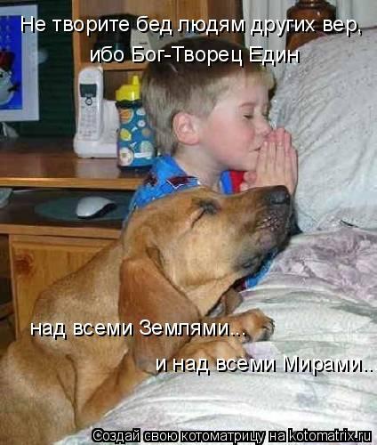 Котоматрица: Не творите бед людям других вер,  ибо Бог-Творец Един  над всеми Землями...  и над всеми Мирами...