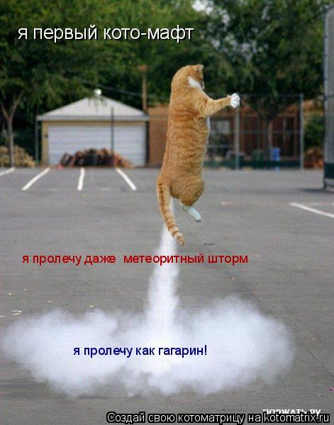 Котоматрица: я первый кото-мафт я пролечу даже  метеоритный шторм я пролечу как гагарин!
