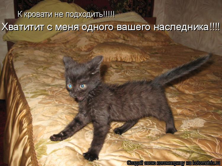 Котоматрица: К кровати не подходить!!!!! Хватитит с меня одного вашего наследника!!!!