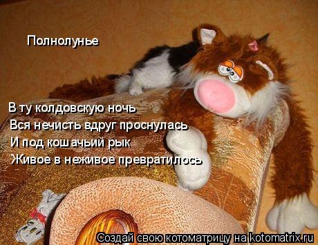 Котоматрица: Полнолунье В ту колдовскую ночь И под кошачьий рык Вся нечисть вдруг проснулась Живое в неживое превратилось