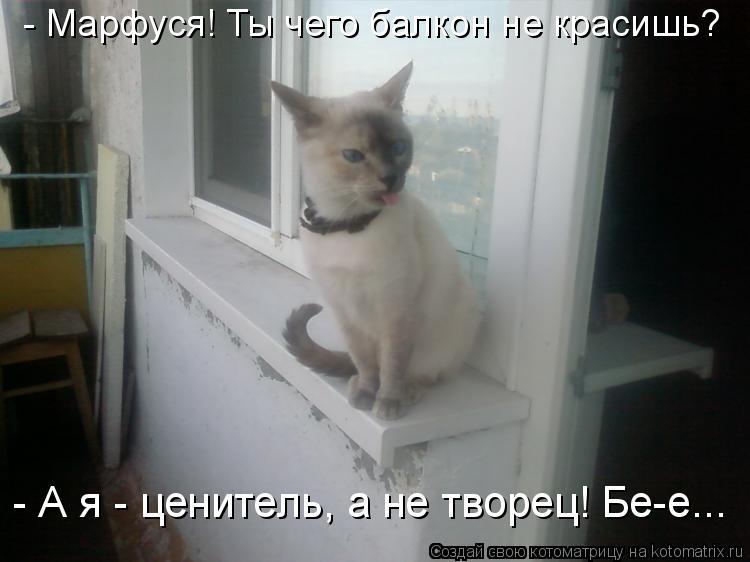Котоматрица: - Марфуся! Ты чего балкон не красишь? - А я - ценитель, а не творец! Бе-е...
