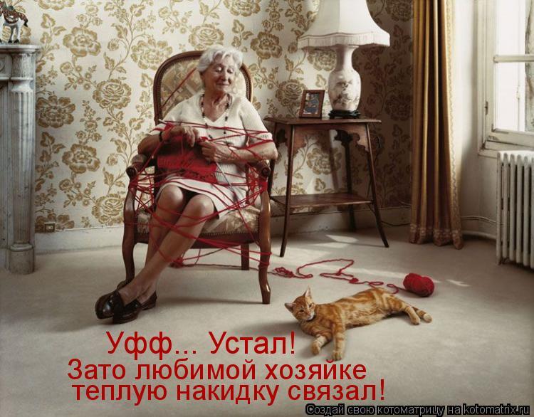 Котоматрица: Уфф... Устал! Зато любимой хозяйке   теплую накидку связал!
