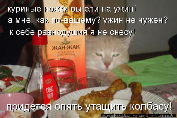 Котоматрица: куриные ножки вы ели на ужин! а мне, как по-вашему? ужин не нужен? к себе равнодушия я не снесу! придется опять утащить колбасу!