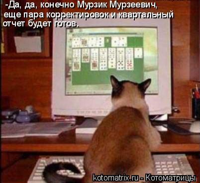 Котоматрица: -Да, да, конечно Мурзик Мурзеевич, еще пара корректировок и квартальный отчет будет готов.