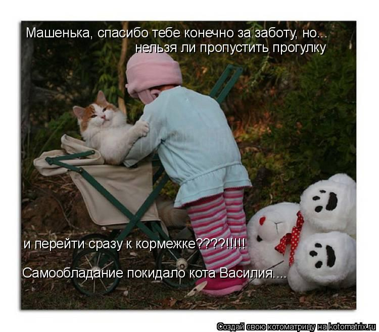 Котоматрица: Машенька, спасибо тебе конечно за заботу, но... нельзя ли пропустить прогулку Самообладание покидало кота Василия.... и перейти сразу к корме