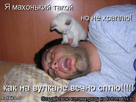 Котоматрица: Я махонький такой но не храплю! как на вулкане вечно сплю!!!!!