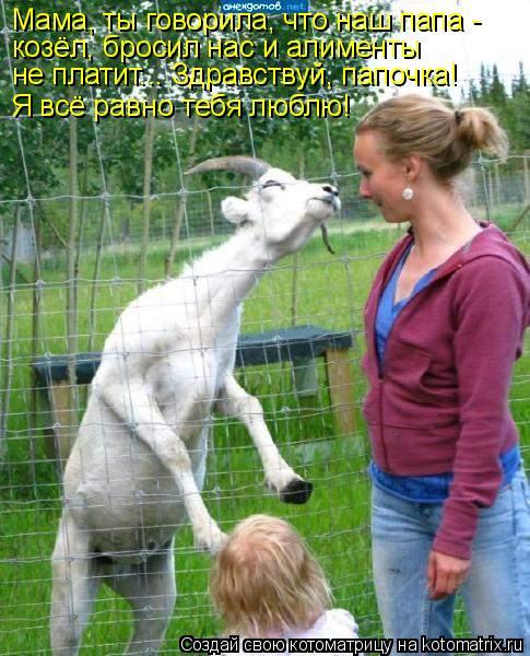 Котоматрица: Мама, ты говорила, что наш папа -  козёл, бросил нас и алименты  не платит... Здравствуй, папочка!  Я всё равно тебя люблю!