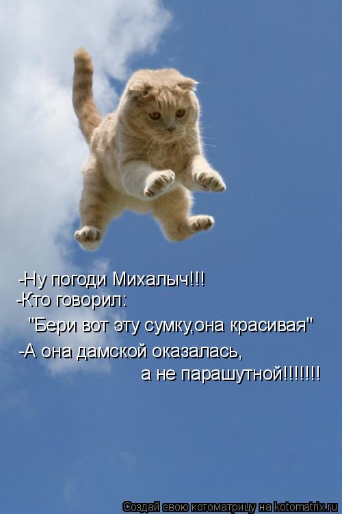 """Котоматрица: -Ну погоди Михалыч!!! """"Бери вот эту сумку,она красивая"""" -Кто говорил: -А она дамской оказалась, а не парашутной!!!!!!!"""