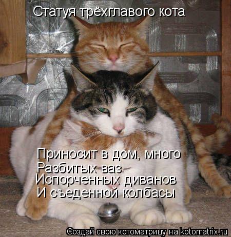 Котоматрица: Статуя трёхглавого кота Приносит в дом, много  Разбитых ваз Испорченных диванов И съеденной колбасы