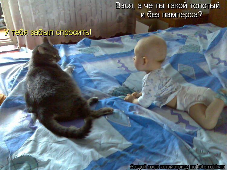 Вася, а  чё ты такой толстый  ибез памперса? У тебя забылспросить!
