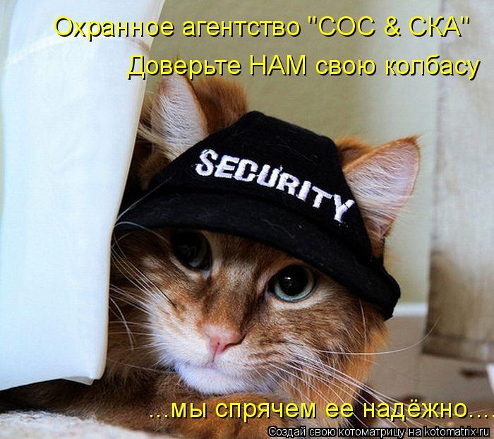 """Котоматрица: Охранное агентство """"СОС & СКА"""" Доверьте НАМ свою колбасу ...мы спрячем ее надёжно...."""