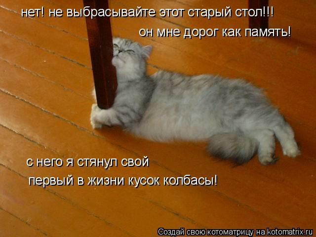 Котоматрица: нет! не выбрасывайте этот старый стол!!! он мне дорог как память! с него я стянул свой первый в жизни кусок колбасы!