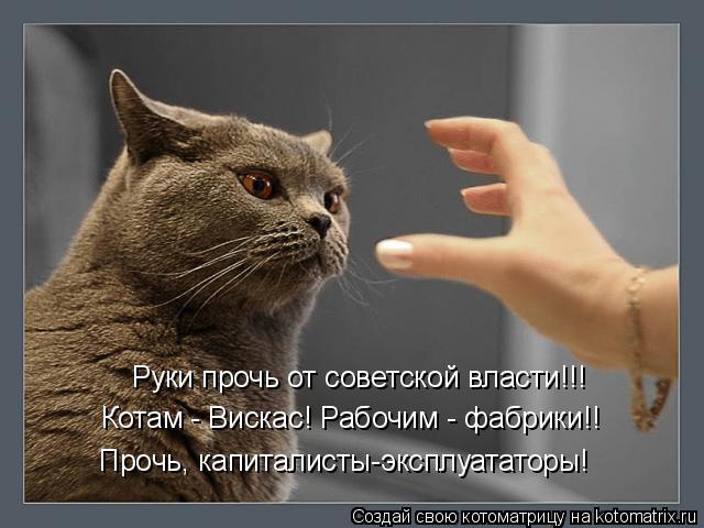 Котоматрица: Руки прочь от советской власти!!! Котам - Вискас! Рабочим - фабрики!! Прочь, капиталисты-эксплуататоры!