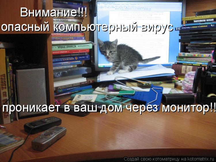 Котоматрица: Внимание!!!  опасный компьютерный вирус проникает в ваш дом через монитор!!!