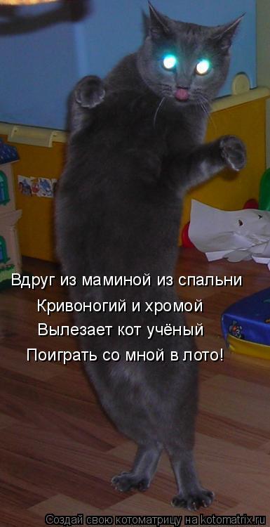Котоматрица: Вдруг из маминой из спальни Кривоногий и хромой Вылезает кот учёный Поиграть со мной в лото!