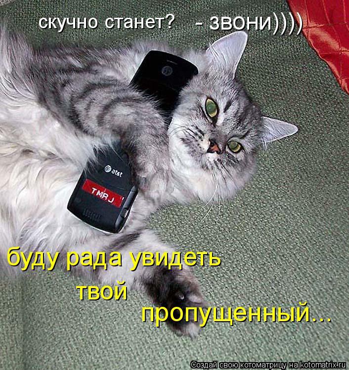 Котоматрица: скучно станет? - звони)))) буду рада увидеть твой пропущенный...