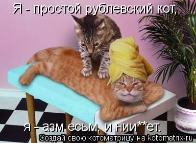 Котоматрица: Я - простой рублевский кот,  я - азм есьм, и нии**ет.