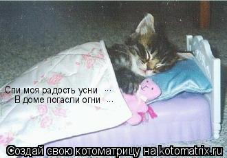 Котоматрица: Спи моя радость усни В доме погасли огни ... ...