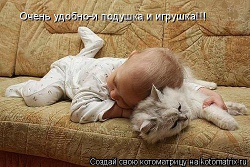 Котоматрица: Очень удобно-и подушка и игрушка!!!