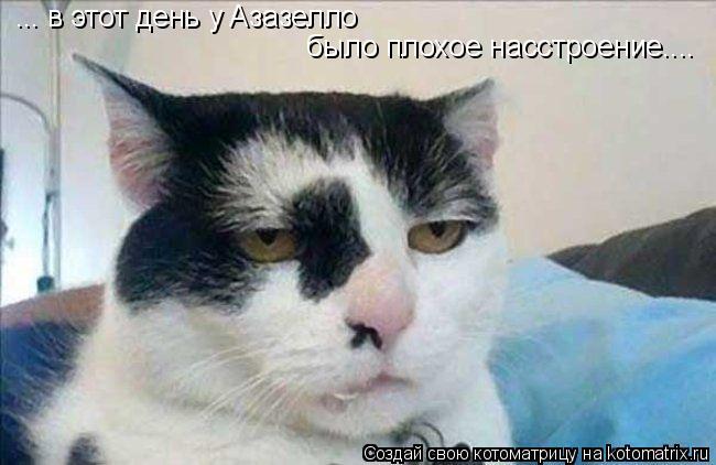 Котоматрица: ... в этот день у Азазелло было плохое насстроение....