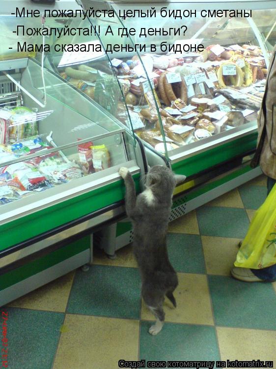 Котоматрица: -Мне пожалуйста целый бидон сметаны -Пожалуйста!!! А где деньги? - Мама сказала деньги в бидоне