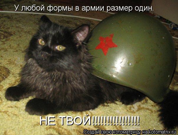 Котоматрица: У любой формы в армии размер один. НЕ ТВОЙ!!!!!!!!!!!!!!!!