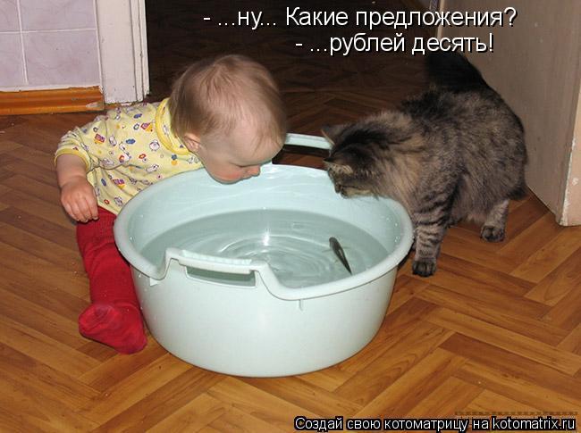 Котоматрица: - ...ну... Какие предложения? - ...рублей десять!