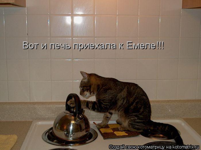 Котоматрица: Вот и печь приехала к Емеле!!!