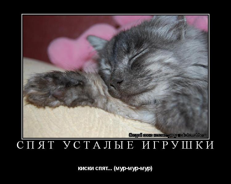 Котоматрица: Спят усталые игрушки киски спят... (мур-мур-мур)