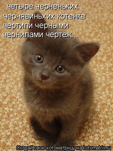Котоматрица: четыре черненьких  чернявиньхих котенка чертили черными чернилами чертеж...