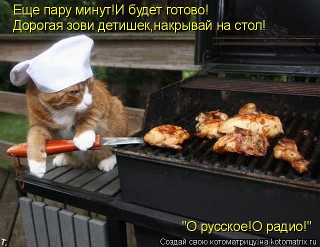 """Котоматрица: Еще пару минут!И будет готово! Дорогая зови детишек,накрывай на стол! """"О русское!О радио!"""""""
