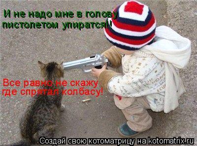 Котоматрица: И не надо мне в голову пистолетом упиратся!! Все равно не скажу где спрятал колбасу!