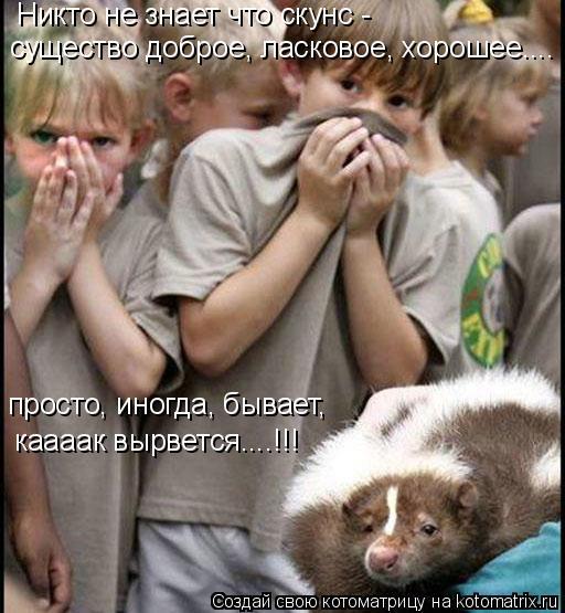Котоматрица: Никто не знает что скунс - существо доброе, ласковое, хорошее.... просто, иногда, бывает,  каааак вырвется....!!!
