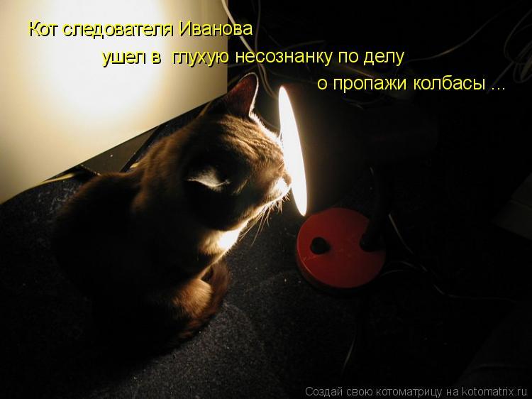 Котоматрица: Кот следователя Иванова  ушел в  глухую несознанку по делу  о пропажи колбасы ...