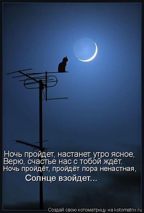 Котоматрица: Ночь пройдет, настанет утро ясное, Ночь пройдет, настанет утро ясное, Верю, счастье нас с тобой ждёт. Ночь пройдёт, пройдёт пора ненастная, Со
